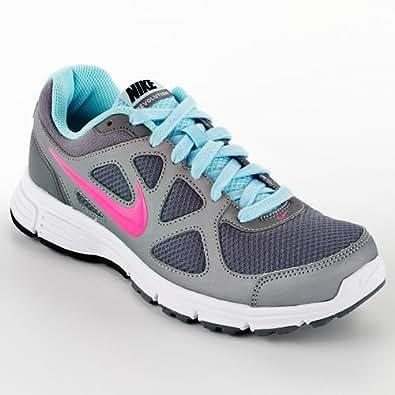 Nike Women's Revolution Metallic Cool Grey/Seashell Blue/Cool Grey/Pink Flash, US Size 5