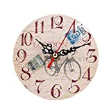 Wall Clock, Alonea Vintage Style Non-Ticking Silent Antique Wood Kitchen Home Wall Clocks Decorative Living Room Wall Decor (D) Review
