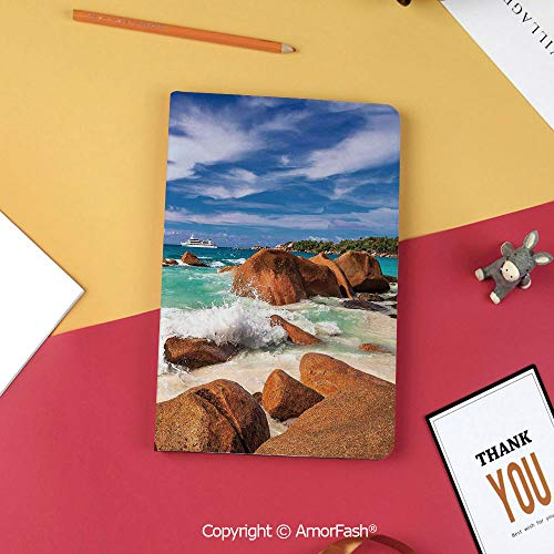 Island Paradise Leather - Case for Samsung Galaxy Tab S3 9.7 SM-T820 with Stand,Slim Fit Leather Folio Cover,Tropical,Exotic Coast with Wave Seychelles Island Paradise Beach Scenery,Cinnamon Blue Turquoise