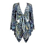Rainlife V-Neck Hollow Jumpsuit Ethnic Shorts Boho Bodysuit Jumpsuit Blue L