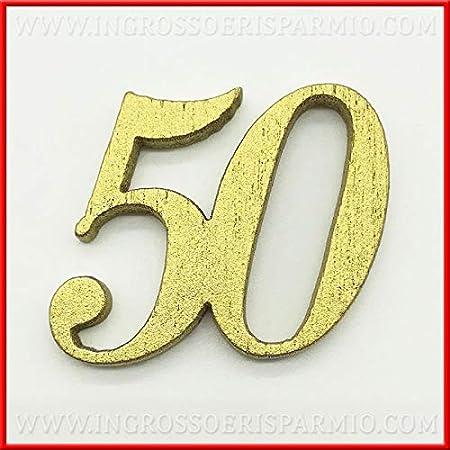 12 Anniversario Matrimonio.Ingrosso E Risparmio 12 Decorazioni In Legno Numero 50 Dorato