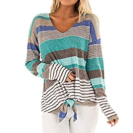 Women's Stripe V-Neck Casual Top T Shirt Loose Long Sleeve Top Blouse