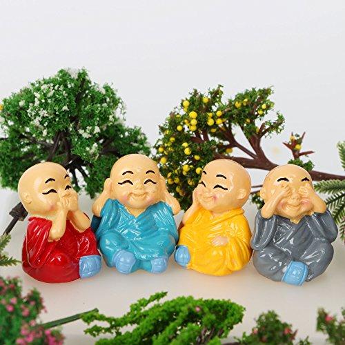 Miniature Garden Decor - 4 Pieces Buddhist monk Mini Figurine Dolls Anime Action Figure Fairy Garden Micro Landscape Decor Home Decorations - Miniature Fairy Garden Décor