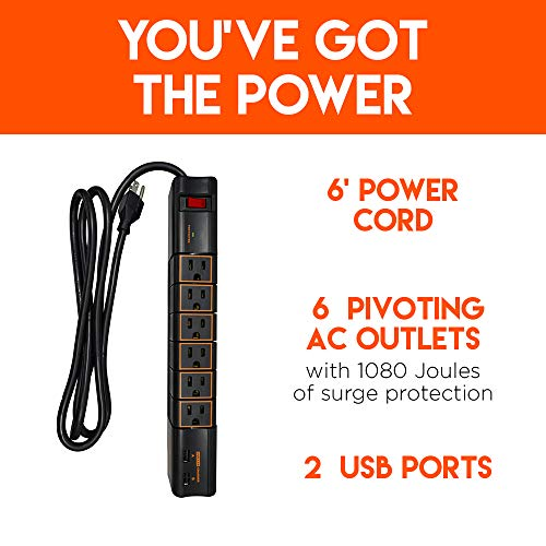 Echogear Rotating Surge Protector Power Strip with 2 USB Ports & 6 Rotating AC Outlets - 1080 Joules of Heavy Duty Surge Protection with Long Power Cord & Wall Mounting Holes by ECHOGEAR (Image #1)