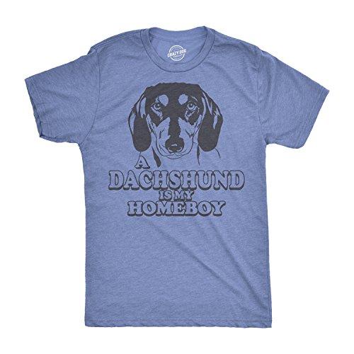 Crazy Dog T-Shirts Mens Dachshund is My Homeboy Tshirt Funny Pet Dog Puppy Weiner Dog Tee for Guys -XXL