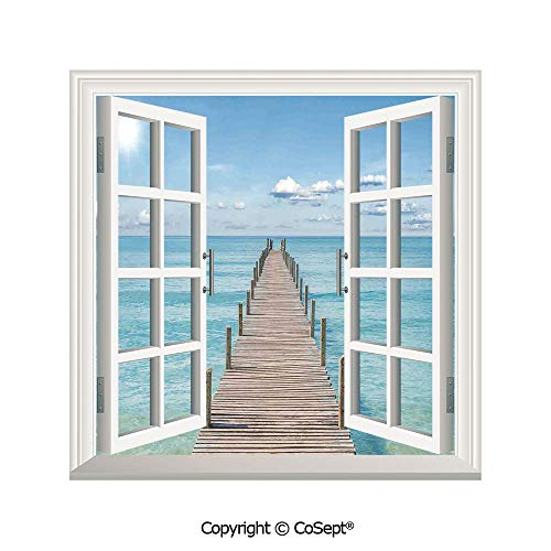 SCOXIXI Artificial Window Wall Applique Landscape Wall Decoration,Wood Pier Deck in Asian River with Sky and Sun Summer Travel Theme Art Print,Window Decorative Decals Interior(25.86x22.63 -