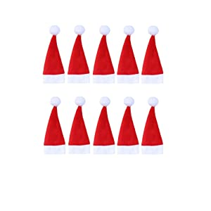 ONEYIM 10pcs Mini Santa Hat Cup Bottles Cover Christmas Gift Home Christmas Decor (4x7cm(Small Doll Hat))