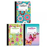 FLOMO Girl Composition Notebooks - Donuts, Sweets and Butterflies (3 Pack) lined journal, journal for women, large journal, notebook college ruled, composition notebook college, journal college ruled