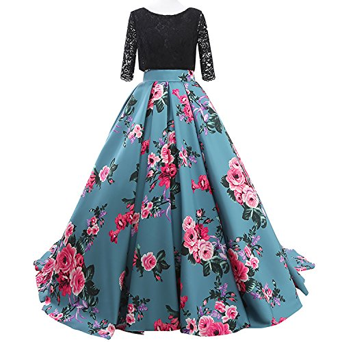 JoJoBridal Women's Floral Print Prom Dresses Ball Gown with Sleeves Custom Blue