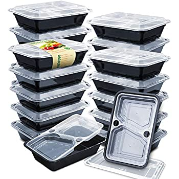 Enther 36oz Meal Prep Containers 20 Pack 3 Compartment with Removable Insert Tray 2-Tier Food Storage Bento Box with Lids, BPA Free Reusable Lunch Box Stackable/Microwave/Dishwasher/Freezer Safe Black
