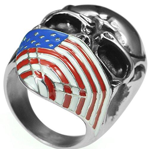 Stainless Steel American Flag Skull Biker Ring (9)
