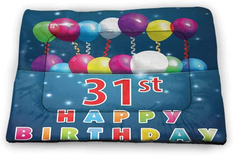 Large Dog Food Mat 31st Birthday for Litter Boxes Joyful Occasion Party Theme with Colorful Balloons Flying 31 Years Old Age 35