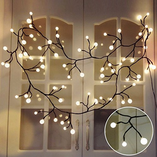 Globe String Light Rattan String Lights, Jia Wei LED Decorative String Lights for Garden,Wedding, Party, Patio, Backyard, Cafe, Bedroom, Tapestry (Warm White)