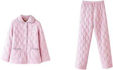 Pijama Pijamas De Invierno De Mujer De Tres Capas De Color Sólido Cálido Color Sólido De Manga Larga Pijamas Conjunto De Algodón Pijamas De Ocio En Casa Pijama de Mujer: Amazon.es: Ropa
