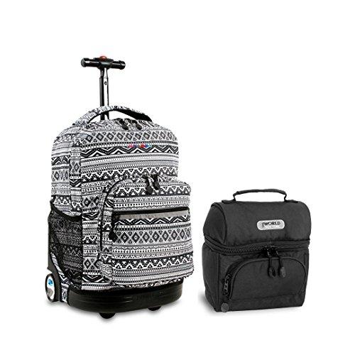 J World Sunrise Roller Backpack Back Pack and Corey Lunch Bag Bundle Set, Tribal w/Black