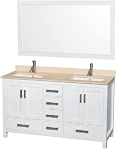Wyndham Collection Sheffield 60 inch Double Bathroom Vanity in White, Ivory Marble Countertop, Undermount Square Sinks, and 58 inch Mirror
