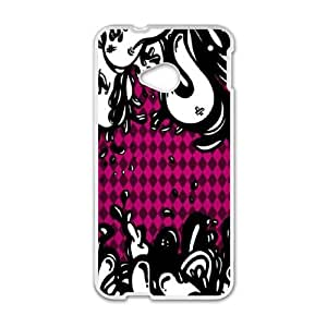 HTC One M7 Cell Phone Case White Pink Argyle Lava LSO7790493