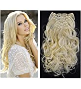 """Curly Wavy Hair Extensions Clip in Beach Blonde Full Head Synthetic Hairpiece 7Pcs 20"""" Heat Frien..."""