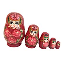 Set of 5pcs Red Painted Wooden Nesting Dolls Matryoshka Russian Doll Childrens Gift