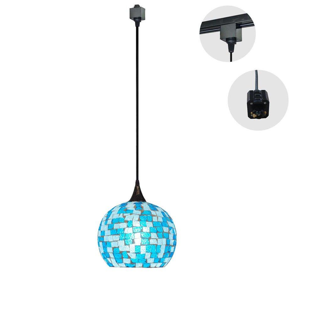 KIVEN H-Type Track Lighting Fixture Mediterranean Tiffany Style Ceiling Pendant Fixture, 1-Light (Blue)