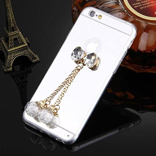 Phone Taschen & Schalen Für iPhone 6 Plus & 6s Plus Bowknot Kettenanhänger TPU Schutzhülle ( Color : Silver )