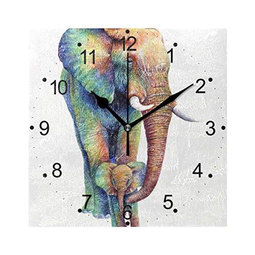 Elephant Clock - LORVIES Rainbow Elephants Wall Clock Silent Non TickingAcrylic 8 Inch Square Decorative Clock for Home/Office/Kitchen/Bedroom/Living Room