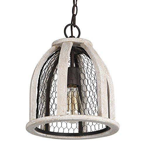 Brinley Home 12 inch Hard Wired Wood Iron Pendant Lamp by Brinley Co (Image #1)