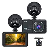 Accfly Dash Cam 1080P 3.0' LCD Screen Car Dash Camera DVR Recorder G-Sensor, Loop Recording Motion Detection with 170° Wide Angle Lens + Vehicle Rear Camera