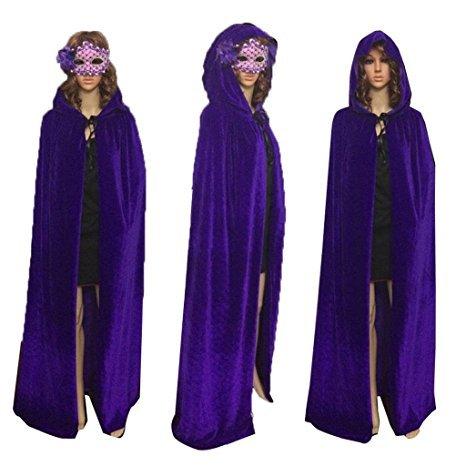 Juanshi Unisex Hooded Velvet Cloak Role Play Costume Halloween Party Cape Color Purple Size (Raven Teen Titans Cloak)