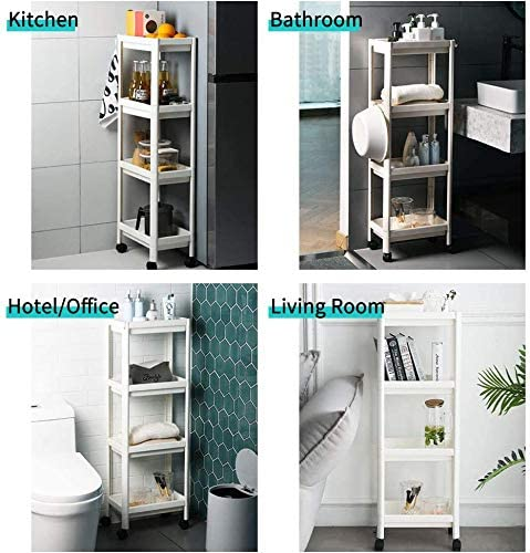 Arkmiido 4 Tier Storage Cart Utility Cart with Wheels and Hooks Standing Shelves for Kitchen Bathroom Living Room Bedroom Laundry Room