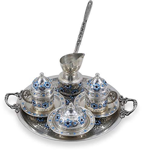 Traditional Design Handmade Copper Turkish Armenian Arabic Greek Coffee Set, Espresso Set, Coffee Cup, Coffee Pot, Tea Set for Two-(CS2-111)