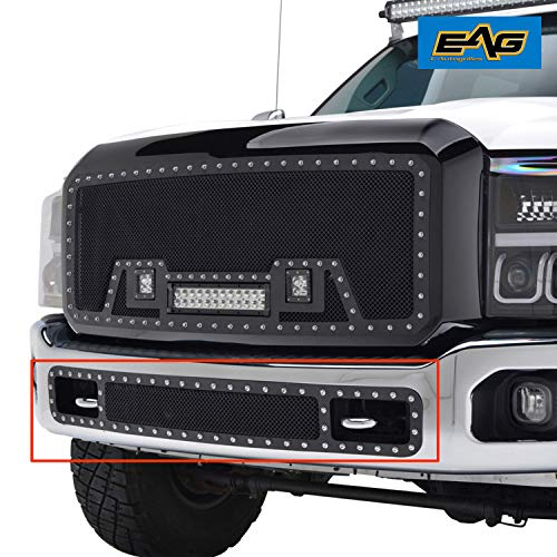 E-Autogrilles Rivet Black Stainless Steel Wire Mesh Grille for 11-16 Ford Super Duty F-250 / F-350 ()