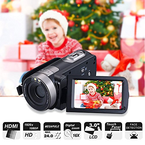 """Digital Camcorder, Mengyasi Portable Video Camcorder with IR Night Vision HD 1080P 24MP 16X Digital Zoom Remote Control Handheld Camcorder with 3"""" LCD Screen (2 Batteries Included)"""