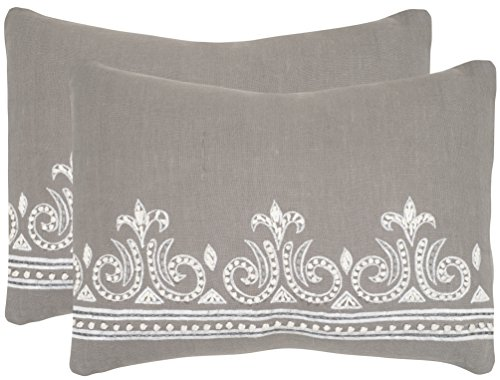 Safavieh Pillow Collection Throw Pillows, 12 by 20-Inch, Savoy Sterling, Set of 2