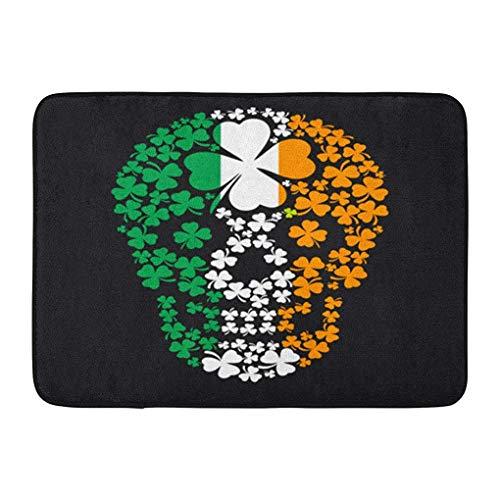 YGUII Doormats Bath Rugs Outdoor/Indoor Door Mat Green Pirate Irish Skull Clover Vintage Halloween Ireland Satan Angel Bathroom Decor Rug Bath Mat 16X23.6in (40x60cm) ()