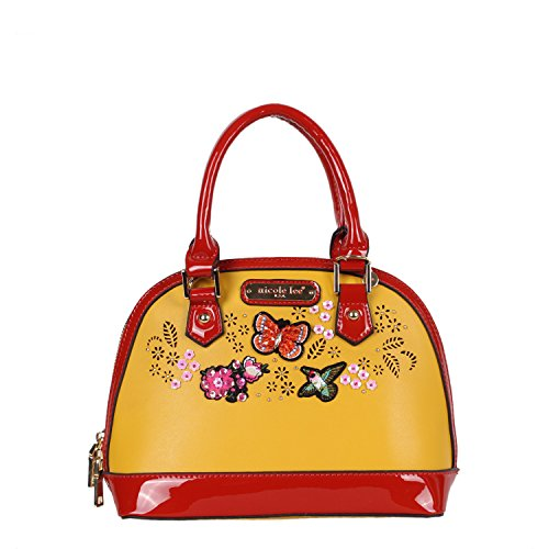 Yellow Mini Handbag (Laser Cut Colorful Patch Embellished Nicole Lee Mini Dome Bag [Yellow])