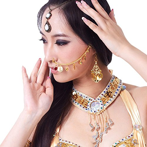 AvaCostume Womens Belly Dance Gold Coins Nose Chain Costume Accessories, Gold (Indian Dance Costumes And Accessories)