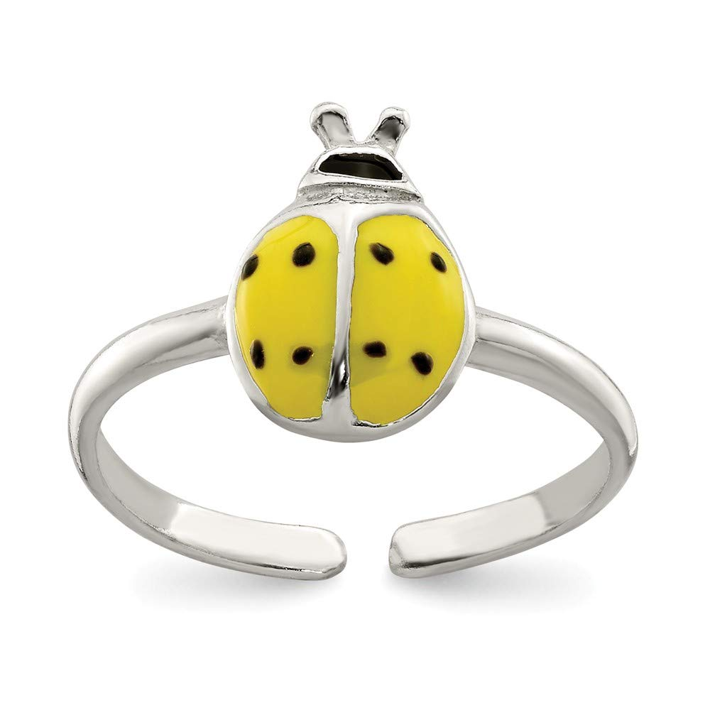 Black Enameled Ladybug Toe Ring in Sterling Silver by The Black Bow