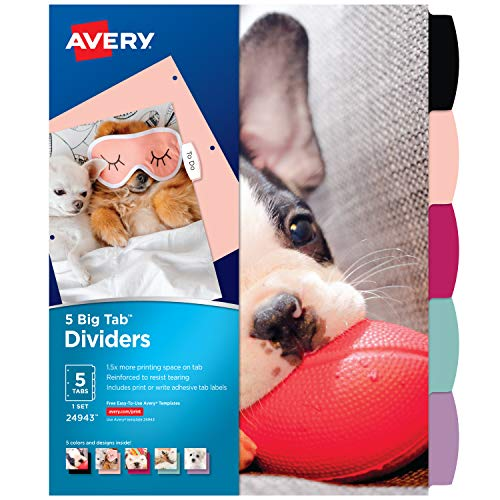 Avery 5 Tab Reversible Fashion Binder Dividers, Puppy Design, Big Tabs, 1 Set (24943)