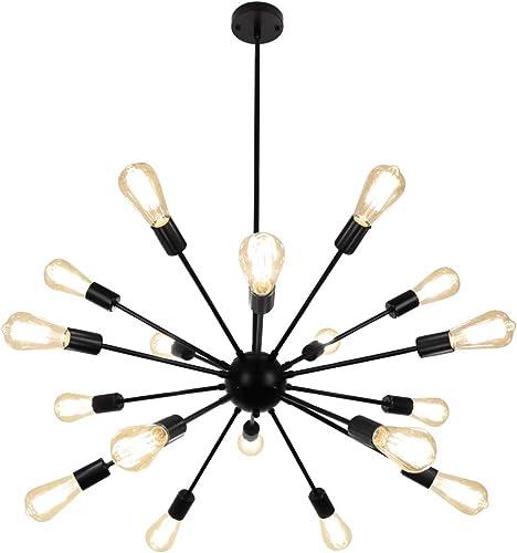 LynPon Sputnik Chandelier 18 Lights Black Modern Ceiling Light Fixture Industrial Vintage Lighting