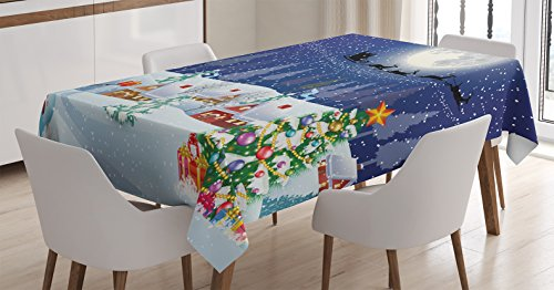 Ambesonne Christmas Tablecloth, Winter Season Snowman Xmas Tree Santa Sleigh Moon Present Boxes Snow and Stars, Dining Room Kitchen Rectangular Table Cover, 60 W X 84 L Inches, Blue White