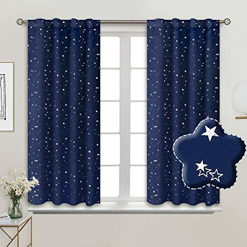 BGment Rod Pocket and Back Tab Blackout Curtains for Kids Bedroom - Sparkly Star Printed Thermal Insulated Room Darkening Curtain for Nursery, 38 x 54 Inch, 2 Panels, Navy Blue (Navy Blackout Curtains Kids)