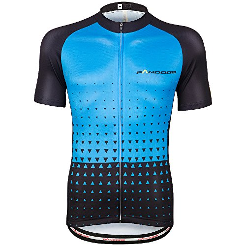 PANDOOM Men's Breathable Short Sleeve Cycling Jersey Quick Dry MTB Biking Shirts Outdoor Sports L