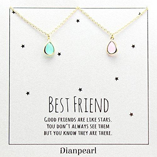 Aqua Necklace (light pink and aqua crystal necklace, Best friends necklace for 2, BFF Necklace, friendship necklace for 2, Gold dainty necklace, gemstone necklace, tiny crystal,new)