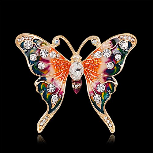 Finance Plan Women Retro Butterfly Multicolor Enamel Shiny Rhinestone Brooch Pin Jewelry Gift by Finance Plan (Image #1)