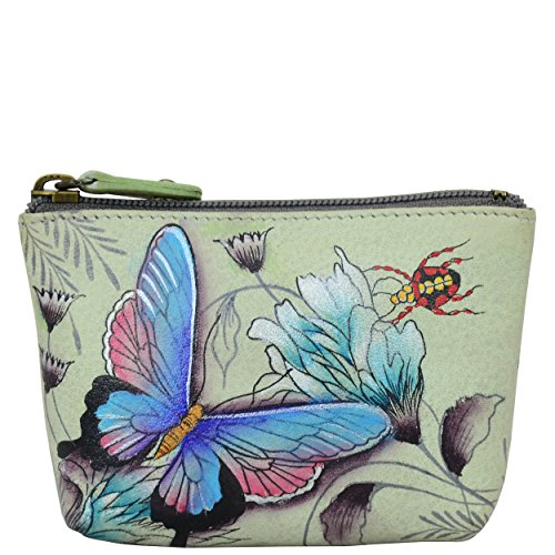 Anuschka Women's Coin Pouch Hand Painted Leather Pouch , Wondrous Wings