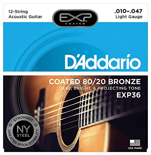 D'Addario EXP36 with NY Steel 80/20 Bronze 12-String Acoustic Guitar Strings, Coated, Light, 10-47 (Best Twelve String Guitar)