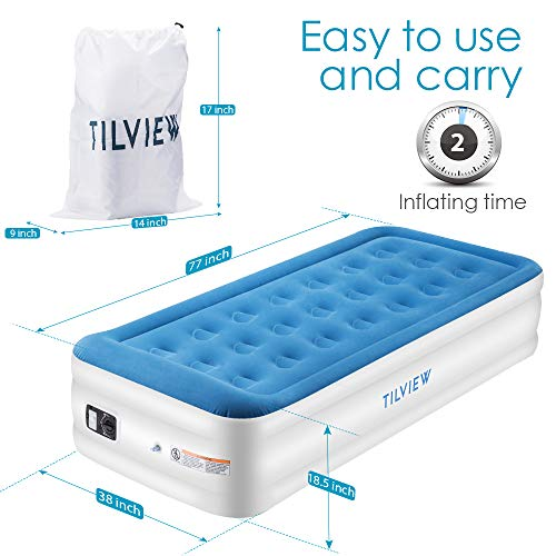 TILVIEW Twin Size Air Mattress Raised Air Bed Blow Up Elevated ...