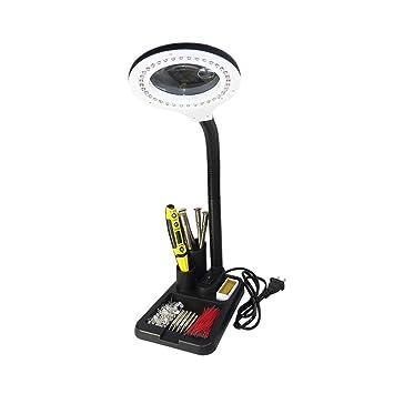 Soporte de Lupa Grande 10X 20X Lupa de Escritorio con Lente Jumbo de LED Manos Libres Lupa con luz para Manualidades de Hobby Inspección Lectura Modelo ...