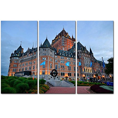 Wall Art Decor Poster Painting On Canvas Print Pictures 3 Pieces Chateau Frontenac at Dusk in Quebec City Architecture Cityscape Framed Picture for Home Decoration Living Room Artwork